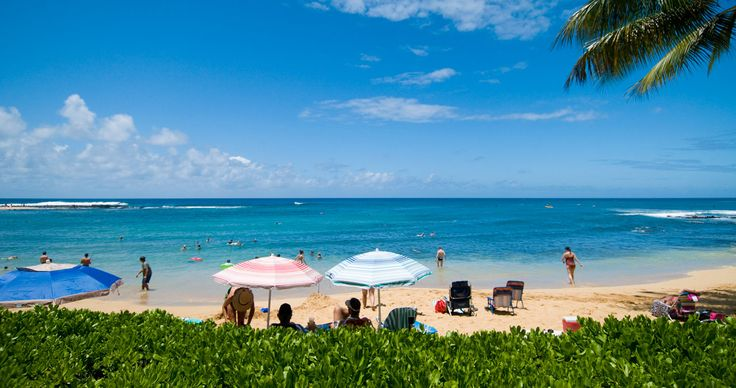 Kauai's alluring southern coastline features a series of unusual reef formations and white sand beaches, each with its own shoreline environment. Swimming,