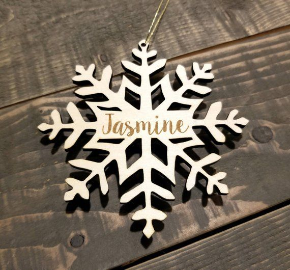 Wood Snowflake Ornament PERSONALIZED WOODEN ORNAMENTS for Family  Snowflake Decorations Personalized Christmas Ornaments for Couple