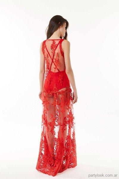 1dbd19521f vestido largo de microtul rojo bordado Ibroo verano 2019