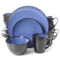 Gibson Soho Lounge Blue/Grey Stoneware 16-piece Dinnerware Set (Service for 4)