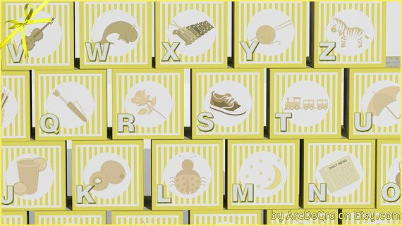 Digital baby ABC blocks Υellow Printable alphabet by ArcDeGra