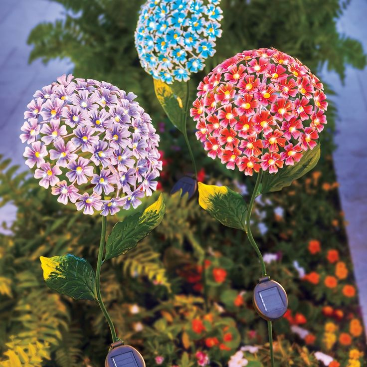 create a garden bouquet with solar hydrangea garden stakes that stand almost 4 ft tall - Solar Garden Decor