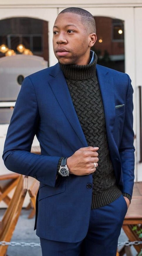 Dapper Winter Combo With A Textured Turtleneck Sweater