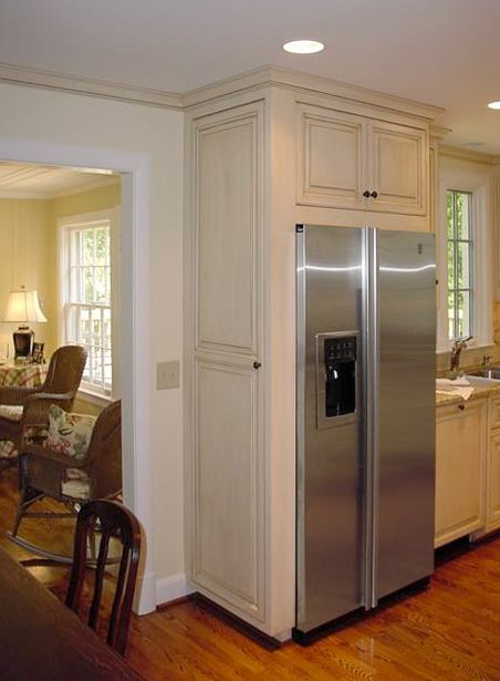 Kitchen Cabinets Over Refrigerator  painted  glazed