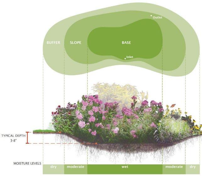 Garden Residential Rain Garden Design With Rain Garden Design Examples And Rain Garden Design For Parking Lots Steps To Make Rain Garden Design