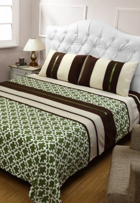 How about giving a unique and attractive look to your bedroom? Bring home this multicoloured bed cover with two matching pillow covers from Valencia and enhance the ambience of your room. With an attractive and interesting design, this bed cover will surely perk up your room