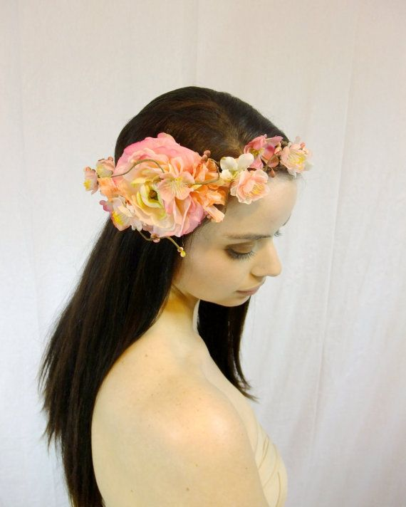 Bridal Flower Crown Blush Pink Headpiece Floral by RuthNoreDesigns
