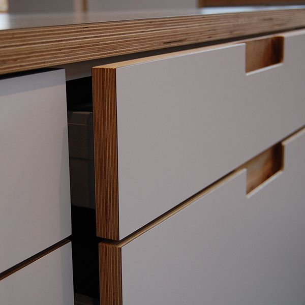 Scandinavian inspired ply and formica kitchen nestkitchens.co.uk