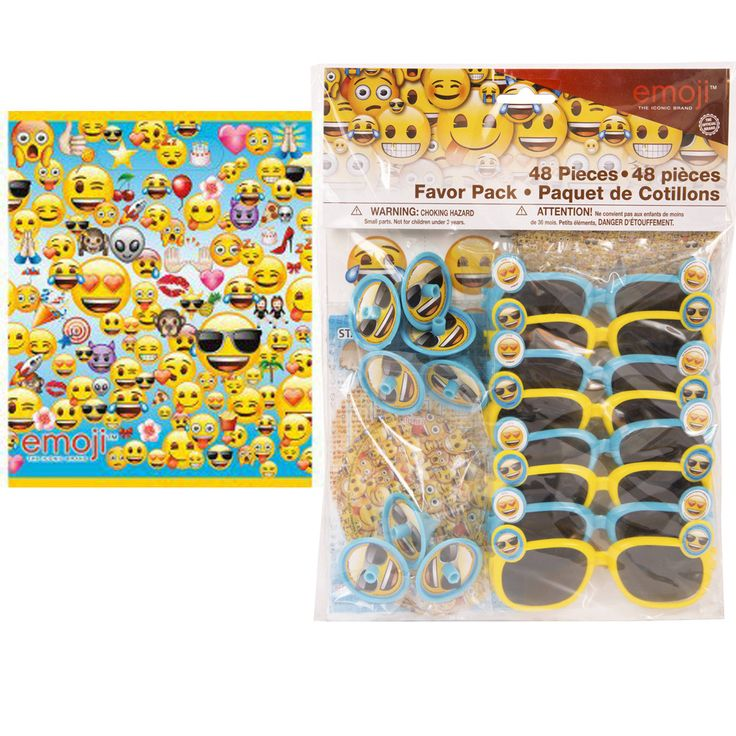 This 56 pc Party Favor Set includes: - 8 Emoji Plastic Favor Bags - 8 Emoji Activity Sheets & 8 Emoji Notebooks - 8 Emoji Stickers & 8 Emoji Spin Tops - 8 Emoji Tattoos (1 sheet containing 8 assorted
