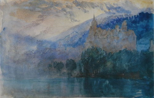 John Ruskin,The Chateau of Neuchatel at Dusk with Jura Mountains Beyond, 1866