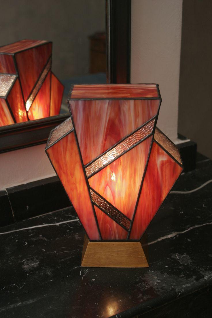Lampe art déco simplissime flammée en vitrail tiffany
