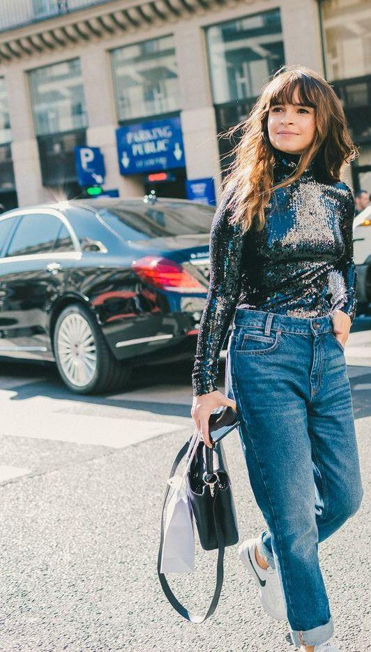 Denim Breakdown: Miroslava Duma in Mom Jeans and a Sparkly Turtleneck Sweater // Shop This Look: (http://www.racked.com/2015/12/7/9838812/miroslava-duma-denim)