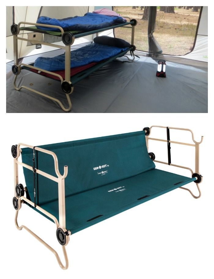 Tips for camping with kids: You get a better night sleep if you're off the ground, as with this Cam-o-Cot bunk bed & couch. Brilliant and great space-saver!