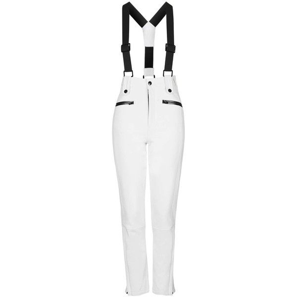 TOPSHOP SNO Skinny Ski Trousers ($135) ❤ liked on Polyvore featuring pants, white, waterproof pants, zipper pocket pants, skinny ski pants, skinny fit pants and white pants