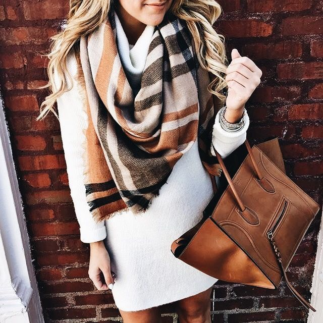 sweater dress, with mixed brown accents.
