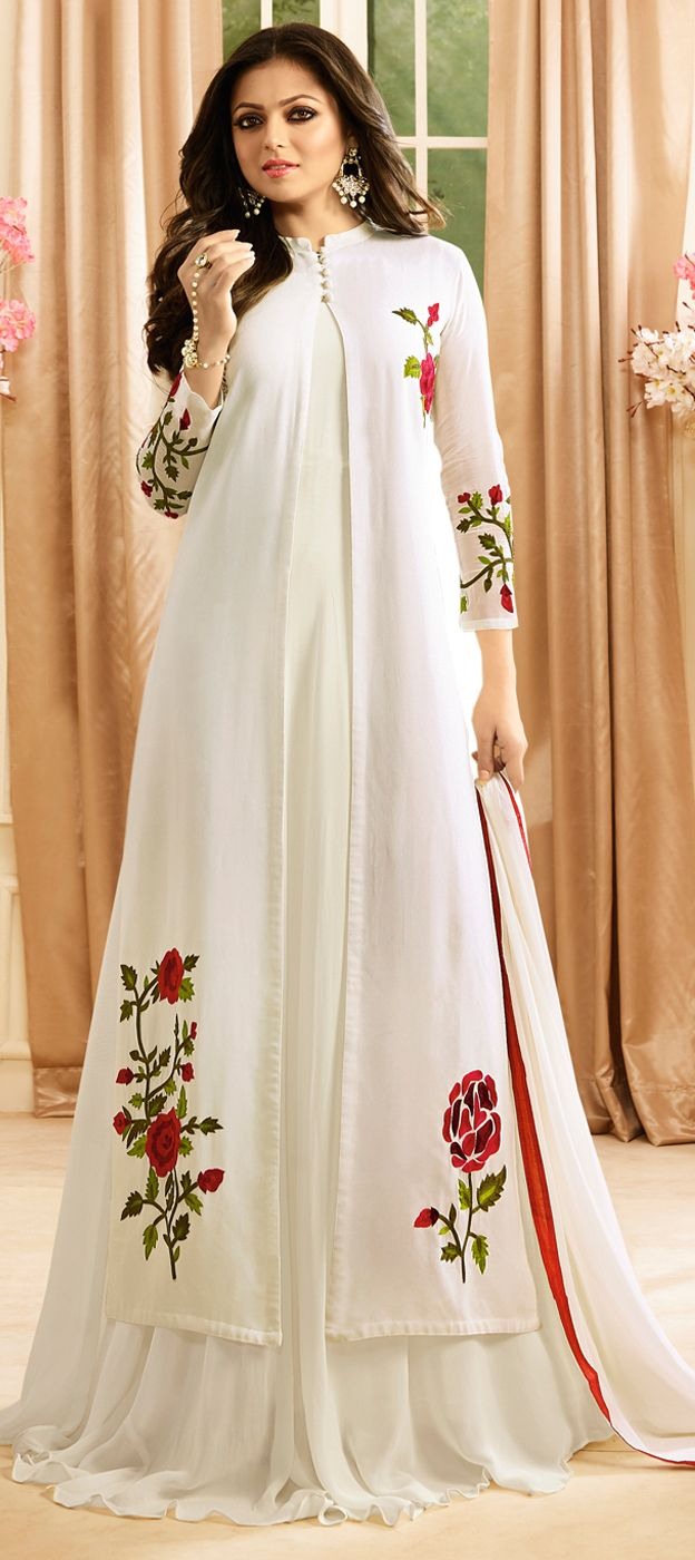 493797: White and Off White color family unstitched Bollywood Salwar Kameez .