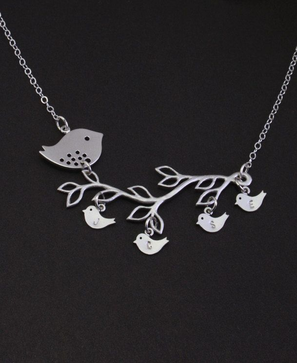Personalized Mother's Day Jewelry. Silver Bird Family Tree Necklace,Baby bird Jewelry,Mother Necklace. Family Initials,Mothers,Grandma Gift. $40.50, via Etsy.
