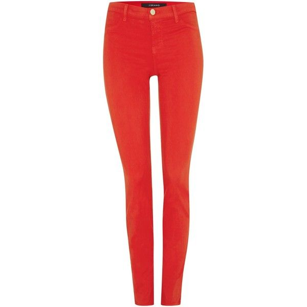 J Brand Mid rise luxe sateen skinny jean in torch red ($175) ❤ liked on Polyvore featuring jeans, pants, bottoms, jeans/pants, red, clearance, j brand skinny jeans, j brand jeans, red skinny leg jeans and skinny fit jeans