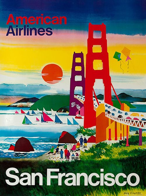 American Airlines | Beautiful Vintage San Francisco Travel Posters: San Francisco California, Francisco Travel, Picture-Black Posters, Sanfrancisco, Airlines Posters, Vintage San, Vintage Travel Posters, Beautiful Vintage, American Airlines