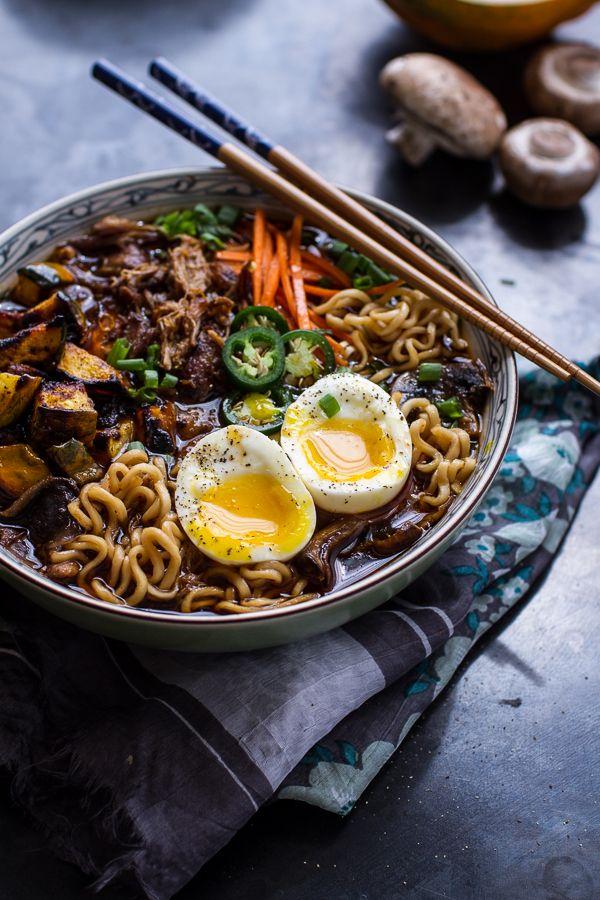 Crockpot Crispy Caramelized Pork Ramen Noodle Soup w-Curry Roasted Acorn Squash