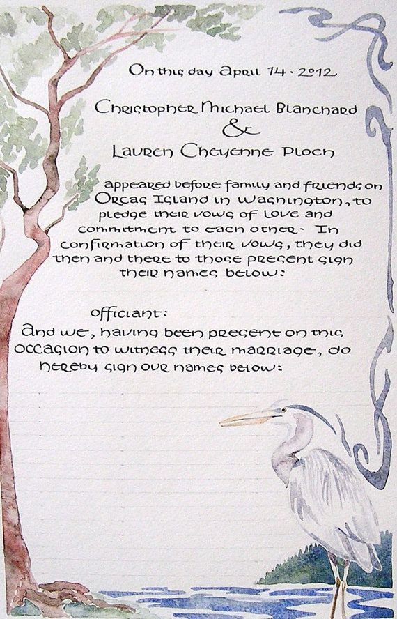 36 best marriage contract images on pinterest wedding certificate quaker wedding certificate heron and trees watercolor i love this one altavistaventures Image collections