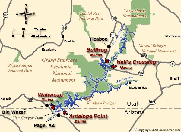 Lake Powell Houseboat and Vacation Map for Utah and Arizona including Directions to Wahweap, Antelope Point and Bullfrog Marinas - vacations, rental, rentals, house, boat
