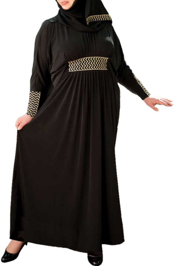 Loose fit, long sleeve, gown with empire waist, gathered skirt, batwing sleeve, and matching hijab. Matching hijab included at no extra charge. Tapered sleeve flatters the arm. Embroidered gold chevron with gold crystal trim at waistline and sleeve. Skirt gathers with extra fullness under embroidered waist detail. Interior sash allows wearer to tailor shape of …