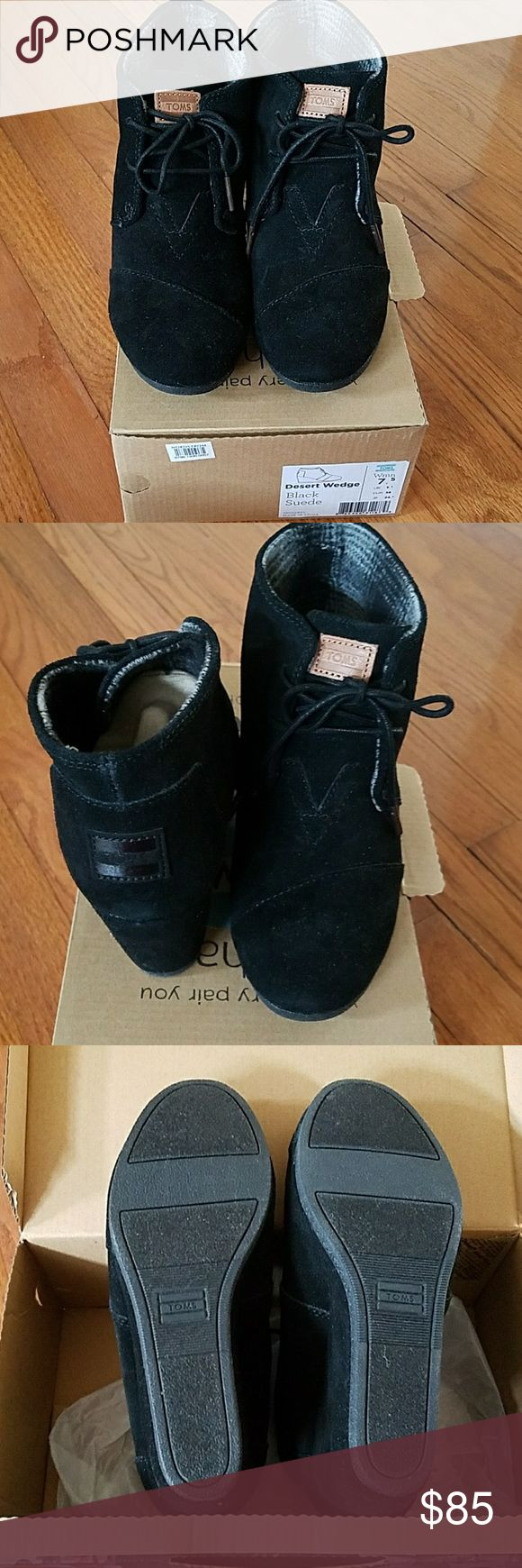 TOMS Desert Wedges!!! Brand New!! Black Suede TOMS Shoes Ankle Boots & Booties