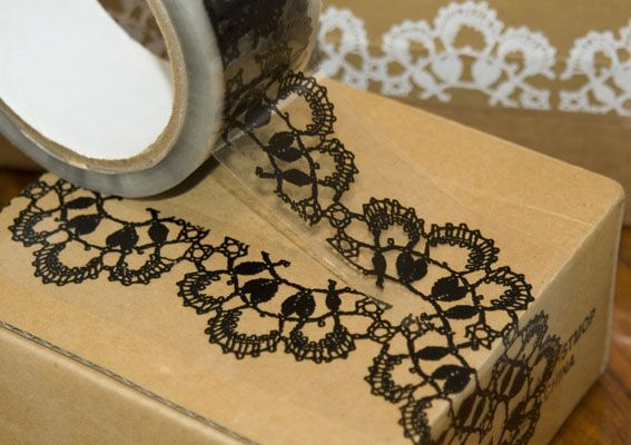 lace tape <3: Lace Tape,  Heloderma Suspectum, Crafts Ideas, Giftwrap, Lacetape, Gifts Wraps, Lace Packs, Packs Tape, Packaging Tape