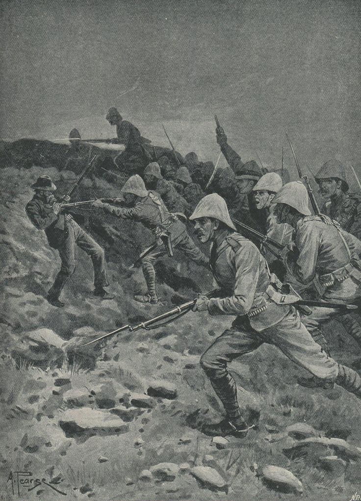British troops rushing the top of Spion Kop