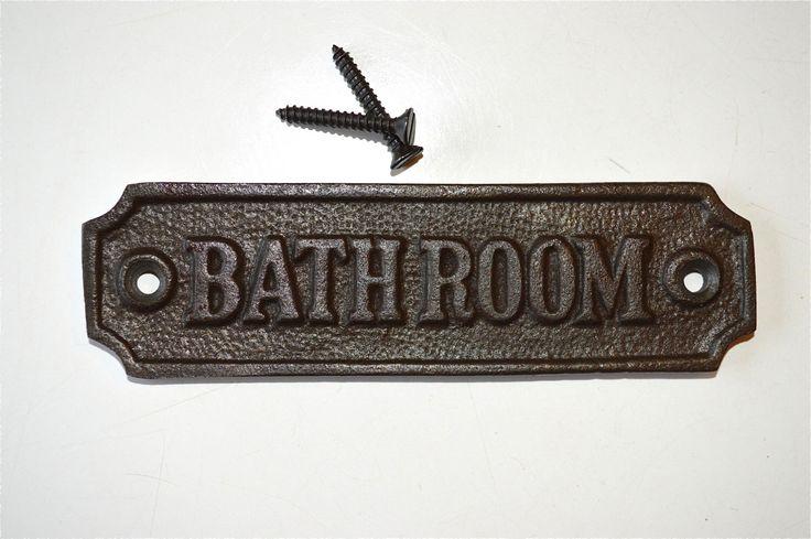 Antique style cast iron bathroom door sign plaque c/w screws GW2 by mjknobsandknockers on Etsy https://www.etsy.com/listing/269364065/antique-style-cast-iron-bathroom-door