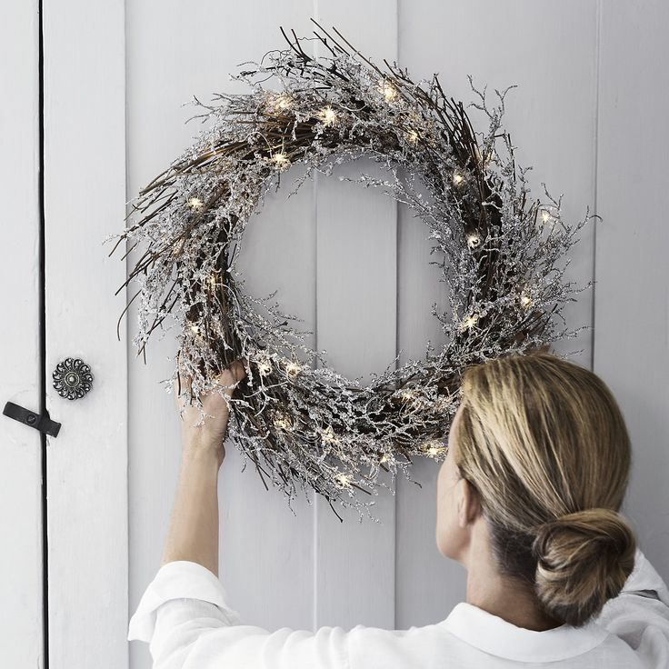 Beaded Wreath (Pre lit) | Christmas Wreaths & Garlands | Christmas Decorations | Christmas | The White Company UK