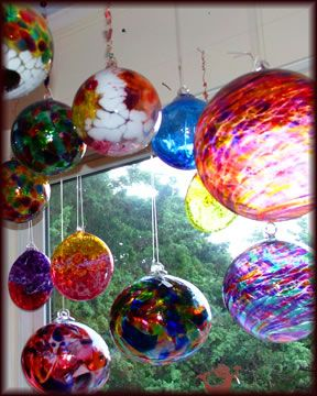 """hand blown globes (aka """"witch balls"""" or """"friendship balls"""") to hang - I have many of these in my home"""