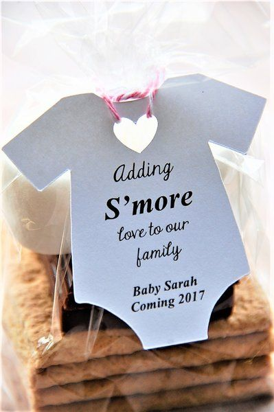 Adding S'more love to our family! A cute way to reveal you are pregnant! Baby Girl coming soon! Smore Onesie shaped party favor gift tags at www.kendollmade.com