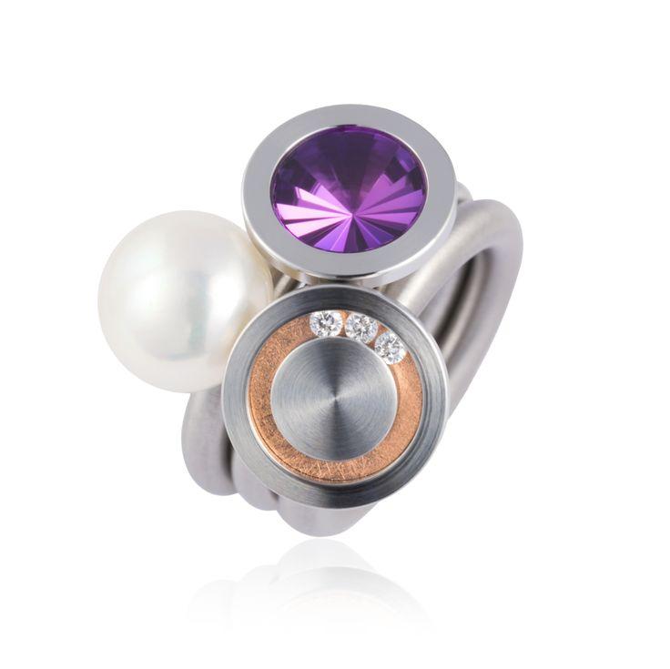 Pur Swivel - Purple Nr 10 Steel Ring Set - ORRO Contemporary Jewellery Glasgow - www.orro.co.uk