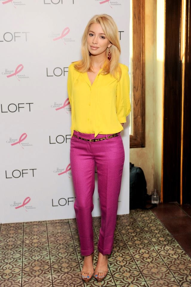 Christian Serratos shows us how colorblocking at its finest with her yellow tie neck LOFT top and purple straight-leg pants (both coming soon to LOFT). The Twilight star is at the LOFT Live In Pink party on August 15, 2012 to celebrate an exclusive partnership between LOFT & Giuliana Rancic in support of The Breast Cancer Research Foundation. #LOFTPink