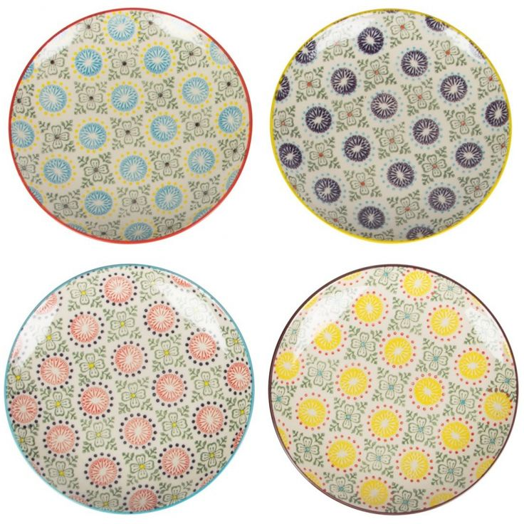 "These mixed print ceramic plates are sure to add color and vintage charm to any tabletop decor. Measures 7.8""Diameter. Microwave and dishwasher safe"
