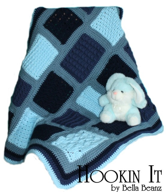Baby boy crocheted blanket in blue done in 22 different stitches