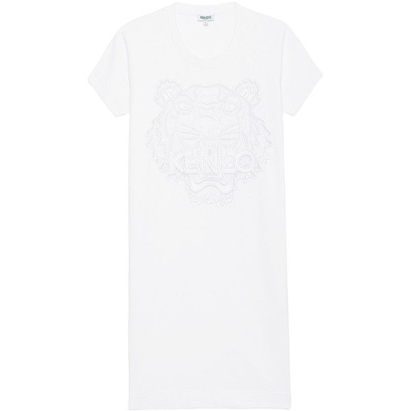 KENZO Tiger Raglan Mini White // Sweat dress with embroidery (7.706.385 VND) ❤ liked on Polyvore featuring dresses, straight dress, short dresses, kenzo, short white dresses and white mini dress