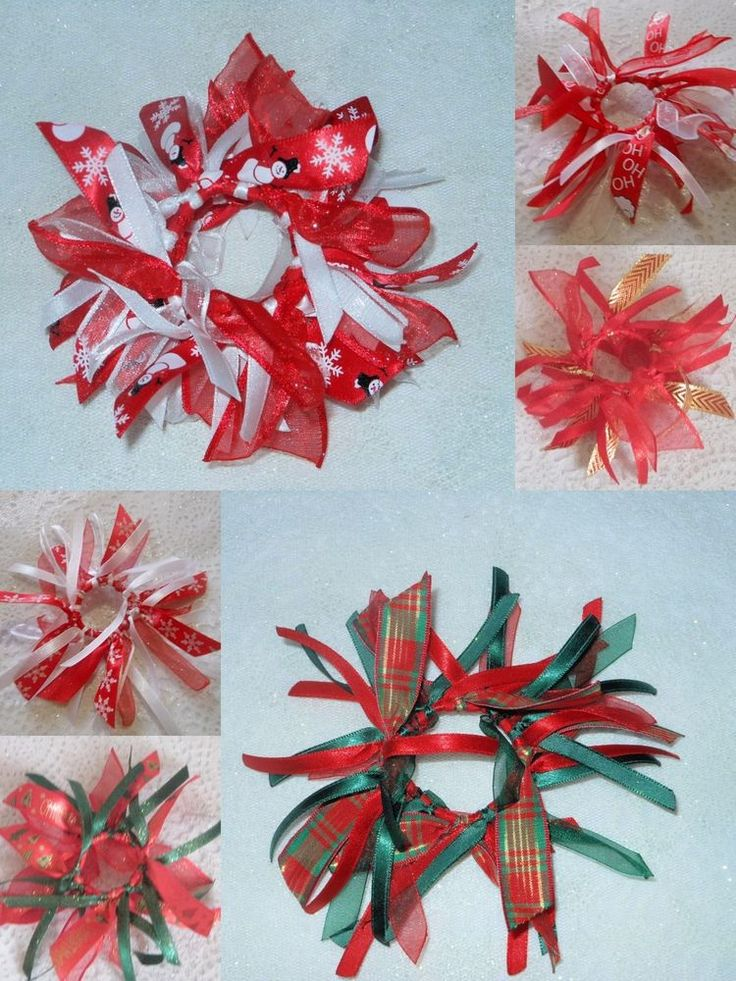 XMAS GIRLS PARTY RED SATIN CHIFFON RIBBON BOBBLE SCRUNCHIE HAIR ACCESSORY  #HandmadebyBONNIEBOBBLES