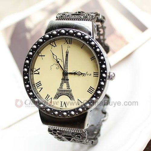 Chinabuye.com---Graceful Roman Dial With Eiffel Tower Pattern Quartz Vintage Bracelet Watch