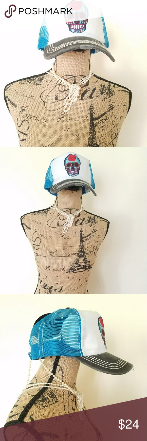 """Sugar Skull Candy Skull Mesh Turquiose Trucker Hat New Sugar Skull Candy Skull Mesh Turquiose Trucker Baseball Cap Hat Adjustable  - Vintage Torn and Stitched Décor - Brim with Vintage Torn and Stitched Décor - Printed Turquoise Décor on Velcro Size Adjuster - Size Adjustable - Brim Length: 2.75"""" Accessories Hats"""