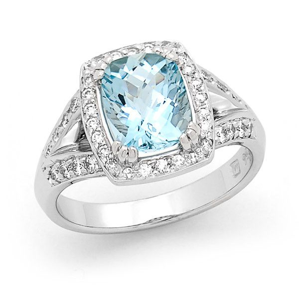 Aquamarine & Diamond Claw/Bead Luxury Ring in 18ct White Gold. 1-9x7mm Cushion Check, Grade: A TDW approx. 0.46 ct, Grade: SI GH | For the Love of Gold