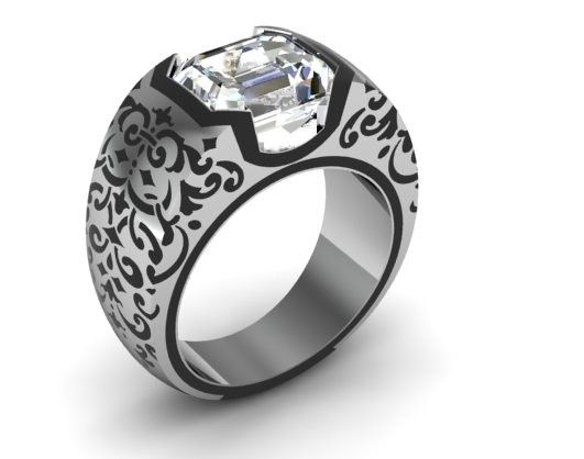 This is by far the sharpest man's ring I have ever seen....so cool I'd wear it myself and I wouldn't even care it was for a man. Custom Made Mens Ring with Enamel Detailing