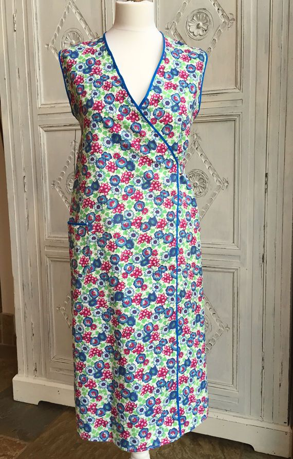 Wwii 1940s 50s Vintage Wrap Around Apron Pinny Floral