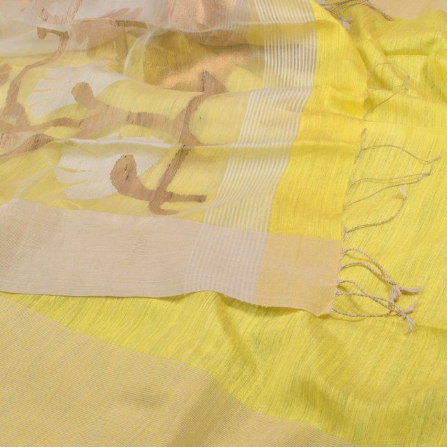 Handwoven Lemon Yellow Organza Sari with Delicate Jamdani Work on the Pallu