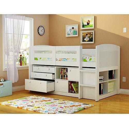 Georgetown Storage Loft Bed, White: Kids' & Teen Rooms : Walmart.com
