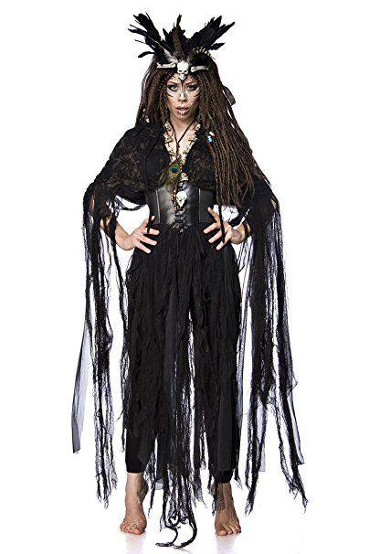 Damen Voodoo Priesterin Fantasy Kostüm Hexen Verkleidung Aus