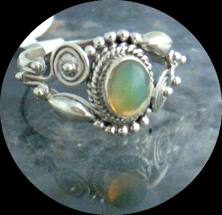 Sz.8, Natural Welo OPAL Gemstone with fire Green, Blue, Yellow and Orange, 925 Solid Sterling Silver, Victorian style Ring Jewellery! by AmeogemJewellery on Etsy