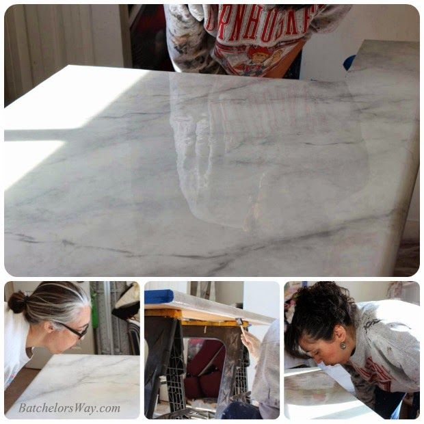 glossy faux marble countertop tutorial, with high protection epoxy sealer. Batchelors Way on Remodelaholic